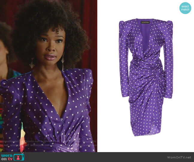Polka Dot Ruched Dress by Alexandre Vauthier worn by Monica Colby (Wakeema Hollis) on Dynasty