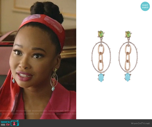 Multi Stone Mesh-Link Dangle Earrings by Alexis Bittar worn by Monica Colby (Wakeema Hollis) on Dynasty