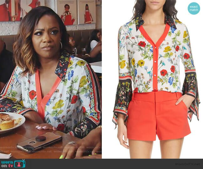 Randa Pattern Mix Blouse by Alice + Olivia worn by Kandi Burruss  on The Real Housewives of Atlanta