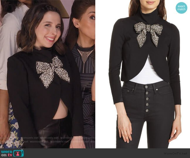 Addison Embellished Bow Crop Jacket by Alice + Olivia worn by Izzy Levine (Esther Povitsky) on Dollface