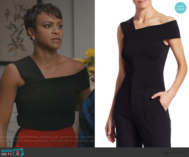 Arletta One-Shoulder Cropped Sweater by Alice + Olivia worn by Angela (Carly Hughes