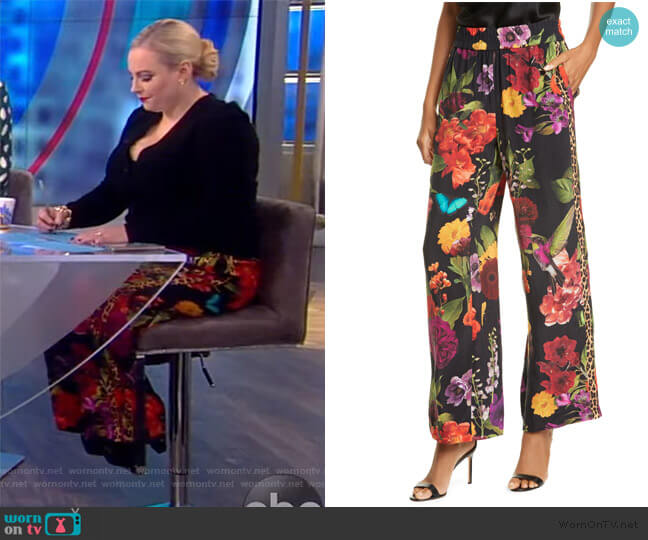 Benny Floral Smock Waist Pants by Alice + Olivia worn by Meghan McCain  on The View