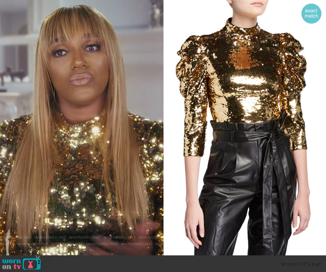 Brenna Sequin Puff-Sleeve Crop Top by Alice + Olivia worn by Nene Leakes  on The Real Housewives of Atlanta