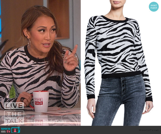 Connie Embellished Zebra Stripe Sweater by Alice + Olivia worn by Carrie Inaba  on The Talk