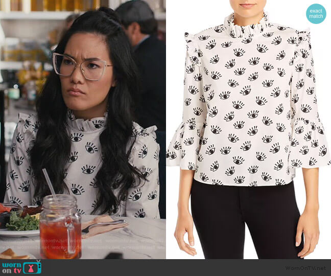 Henrietta Ruffled Boxy Blouse by Alice + Olivia worn by Doris (Ali Wong) on American Housewife