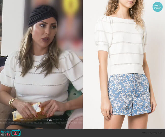 Lavona lace insert top by Alice + Olivia worn by Kelly Dodd  on The Real Housewives of Orange County