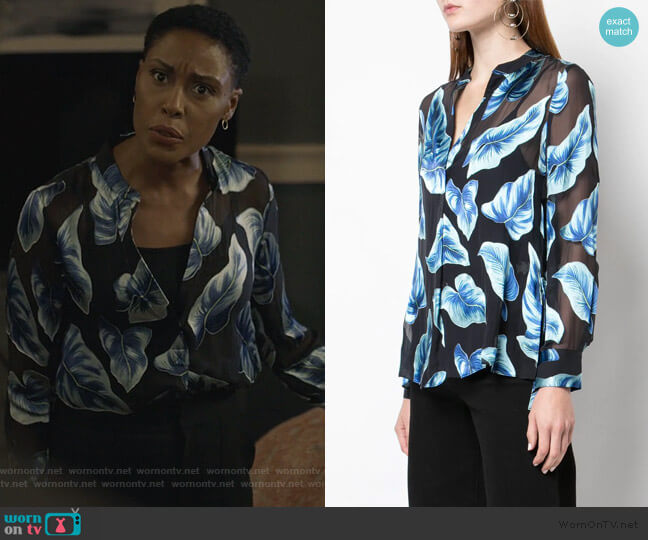 Leaf print sheer shirt by Alice + Olivia worn by Lynn Stewart (Christine Adams) on Black Lightning
