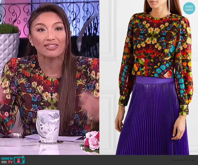 Willa Floral Pleated Placket Silk Blouse by Alice + Olivia worn by Jeannie Mai  on The Real