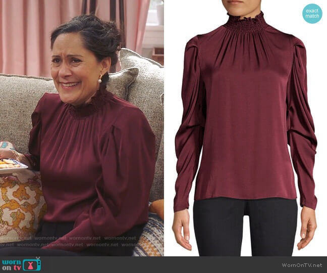 Anderson Blouse by Kobi Halperin worn by Sakina Jaffrey on Sunnyside