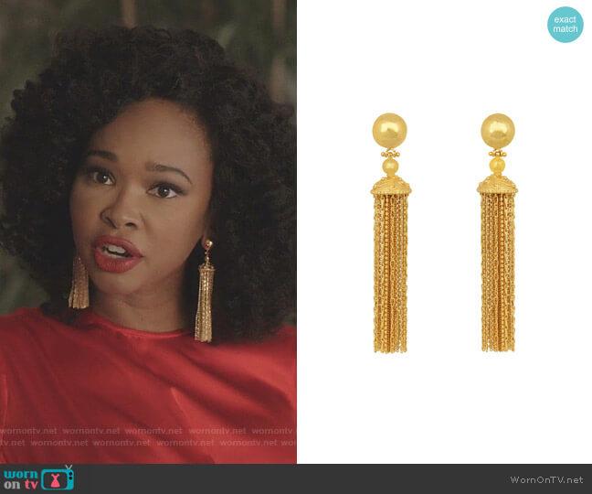 Battina Earrings by Angelina Alvarez worn by Monica Colby (Wakeema Hollis) on Dynasty