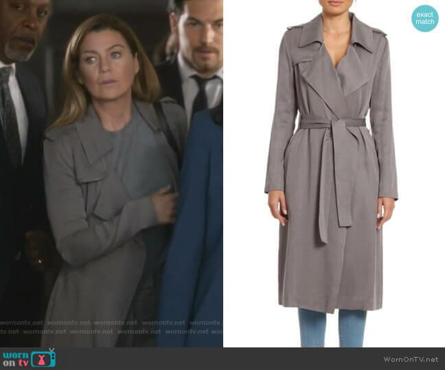 Angelina Trench Coat by Badgley Mischka worn by Meredith Grey (Ellen Pompeo) on Greys Anatomy