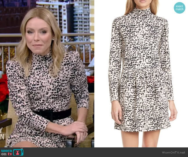Animal Print Long Sleeve Mock Neck Jersey Dress by Rebecca Taylor worn by Kelly Ripa  on Live with Kelly & Ryan