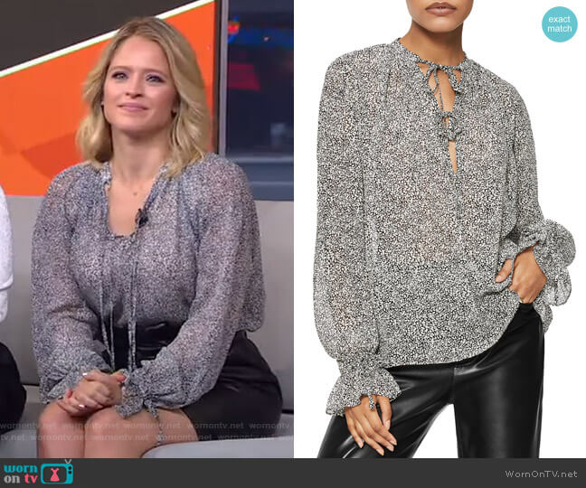 Abigail Tie Neck Silk Blouse by Anine Bing worn by Sara Haines  on Good Morning America