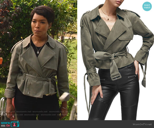 Aria Trench Coat by Anine Bing worn by Athena Grant (Angela Bassett) on 9-1-1