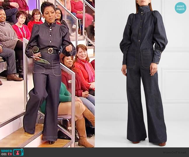Jane denim jumpsuit by Anna Mason worn by Tamron Hall  on Tamron Hall Show
