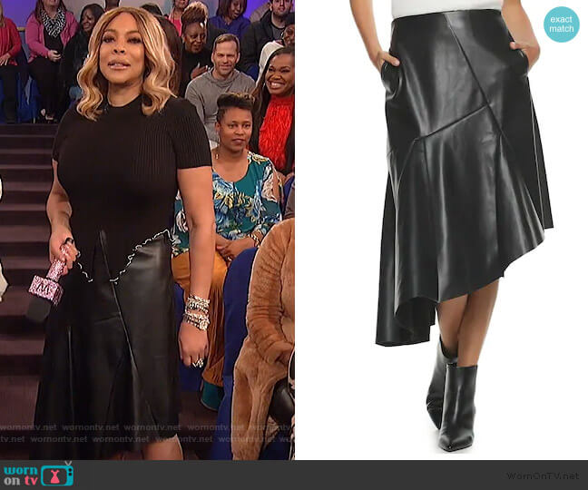Faux Leather Asymmetrical Skirt by Apt. 9 + Cara Santana worn by Wendy Williams  on The Wendy Williams Show