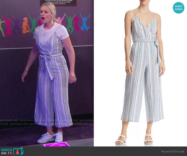 Aqua Striped Cropped Wide-Leg Jumpsuit worn by Gemma (Beth Behrs) on The Neighborhood
