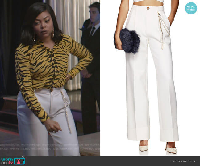 Elsa Chain-Detail Wide-Leg Trousers by Area worn by Cookie Lyon (Taraji P. Henson) on Empire