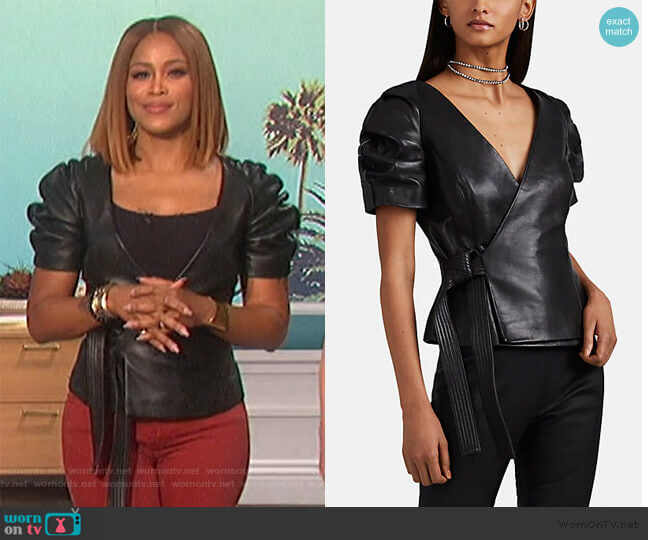 Leather Wrap Top by Area worn by Eve  on The Talk
