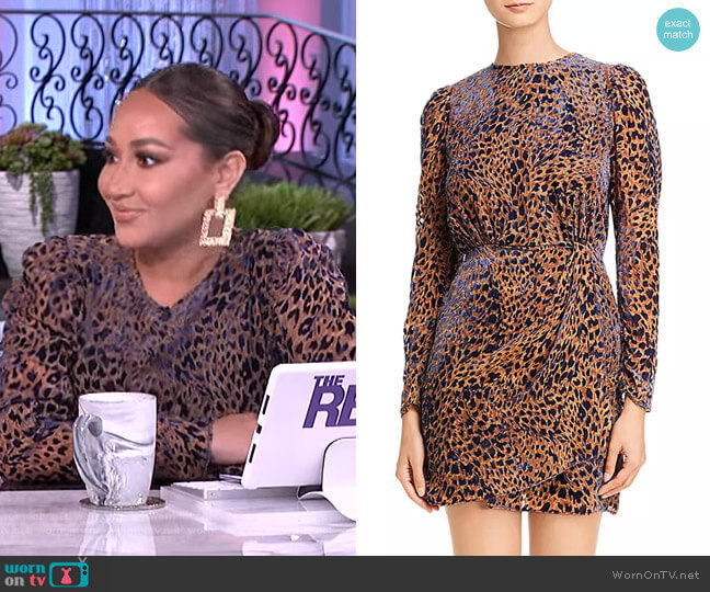 Artichoke Burnout Velvet Leopard Mini Dress by The Kooples worn by Adrienne Houghton  on The Real
