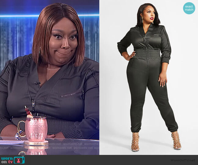 LA LA Anthony Lace-up Jumpsuit by Ashley Stewart worn by Loni Love  on The Real