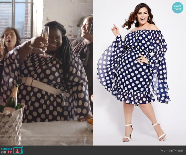 Dot Off-The-Shoulder Bell Sleeve Dress by Ashley Stewart worn by Becky (Gabourey Sidibe) on Empire