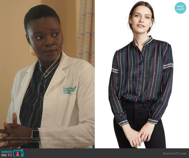 Austin Shirt by Rag & Bone worn by Mina Okafor (Shaunette Renee Wilson) on The Resident