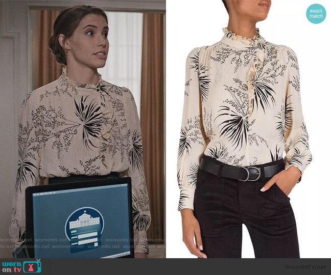 Eda Ruffled Botanical Blouse by Ba&sh worn by Stephanie 'Stevie' McCord (Wallis Currie-Wood) on Madam Secretary