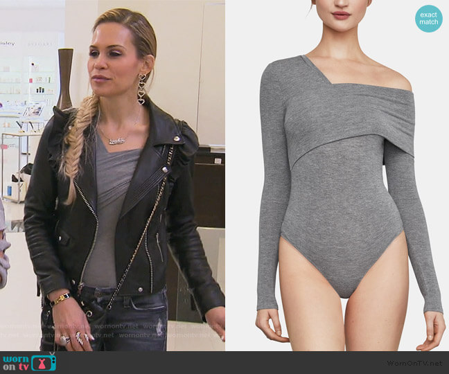 Asymmetrical One-Shoulder Bodysuit by BCBGMAXAZRIA worn by Jackie Goldschneider  on The Real Housewives of New Jersey