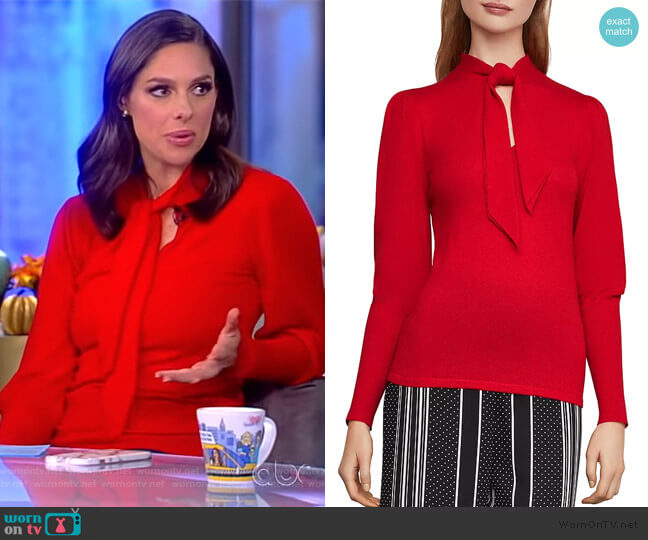 Tie-Neck Sweater by BCBGMAXAZRIA worn by Abby Huntsman  on The View