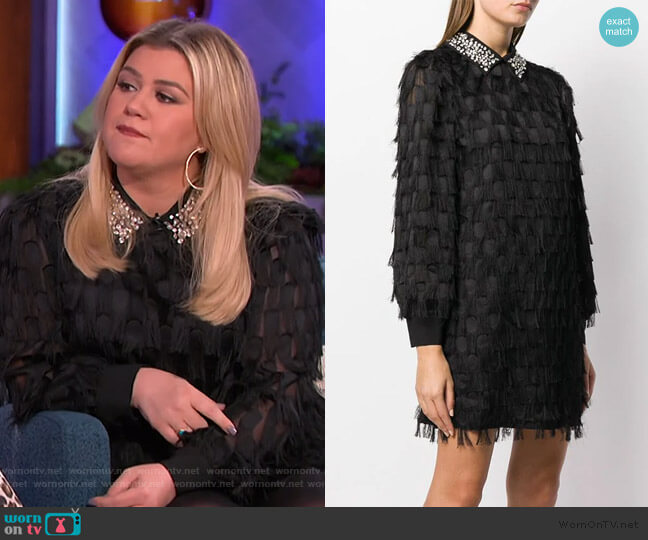 Dotted Fringed Shirt Dress by Be Blumarine worn by Kelly Clarkson  on The Kelly Clarkson Show