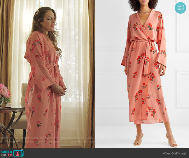 Peignoir Floral-Print Silk Robe by Bernadette worn by Fallon Carrington (Elizabeth Gillies) on Dynasty
