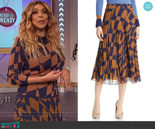Matara Geo Print Pleated Skirt by BOSS worn by Wendy Williams  on The Wendy Williams Show