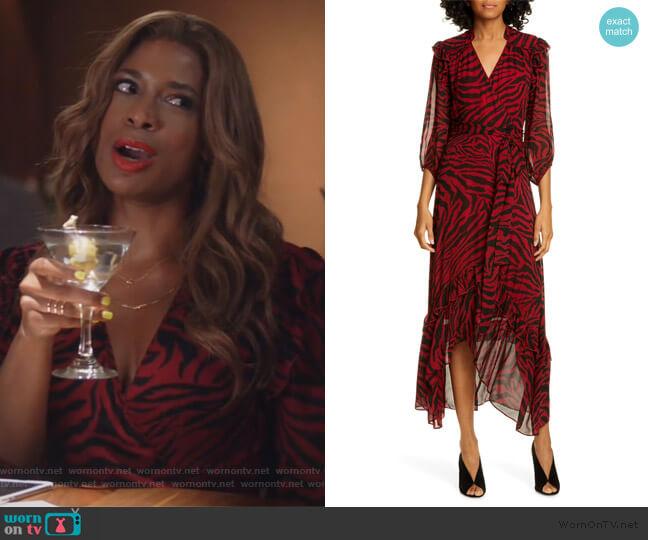 Selena Animal Print Ruffle Detail Midi Wrap Dress by BA&SH worn by Poppy (Kimrie Lewis) on Single Parents