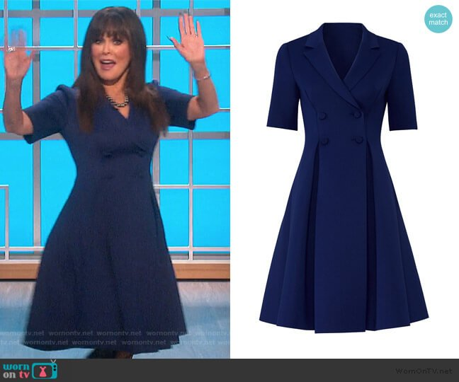 Blue Flare Suit Dress by Badgley Mischka worn by Marie Osmond  on The Talk