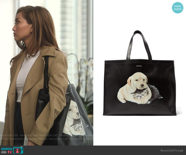 Animal-Print Leather Tote Bag by Balenciaga worn by Madison Maxwell (Brenda Song) on Dollface