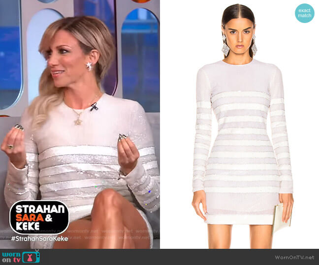 Sequin Stripe Mini Dress by Balmain worn by Debbie Gibson on GMA Strahan Sara And Keke