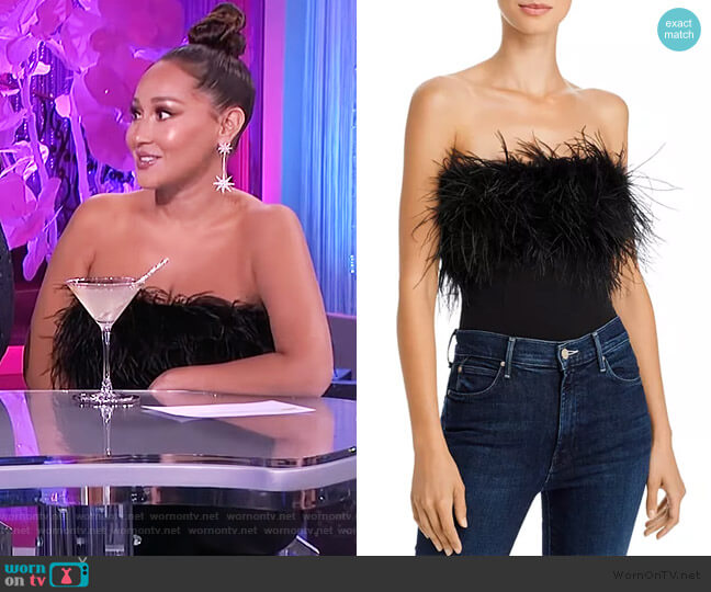 Feather-Trim Strapless Bodysuit by Bardot worn by Adrienne Houghton  on The Real