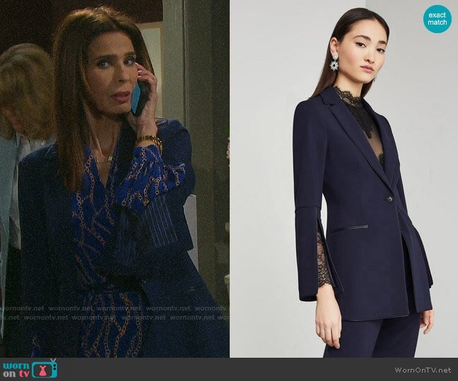 Bcbgmaxazria Pleather-Trimmed Blazer worn by Hope Williams (Kristian Alfonso) on Days of our Lives