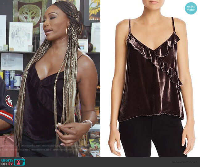 Velvet Ruffle Cami by Bella Dahl worn by Cynthia Bailey  on The Real Housewives of Atlanta