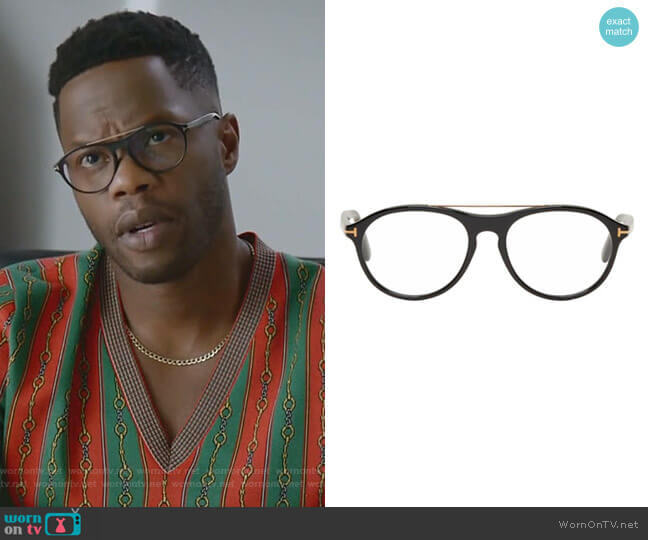 Black Pilot Shape Glasses by Tom Ford worn by Jeff Colby (Sam Adegoke) on Dynasty