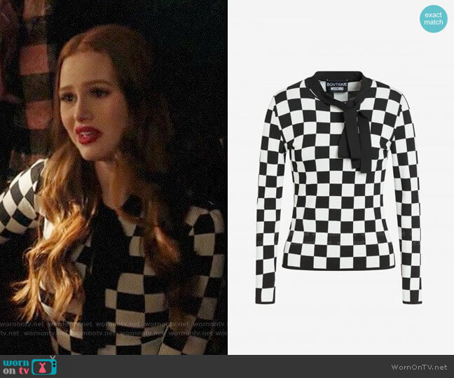 Boutique Moschino Stretch Check Viscose Sweater worn by Cheryl Blossom (Madelaine Petsch) on Riverdale