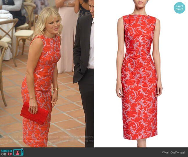 Sleeveless Lizard Jacquard Dress by Brandon Maxwell worn by Malin Akerman on Dollface