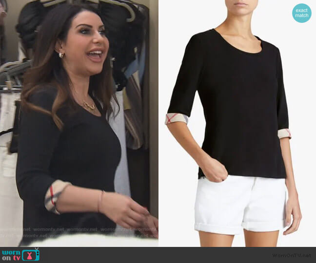 heck Cuff Stretch Cotton T-Shirt by Burberry worn by Jennifer Aydin  on The Real Housewives of New Jersey
