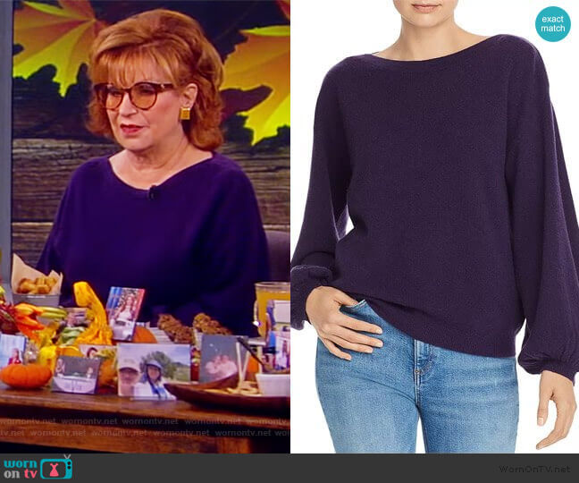 Balloon-Sleeve Cashmere Sweater by C by Bloomingdale's worn by Joy Behar  on The View