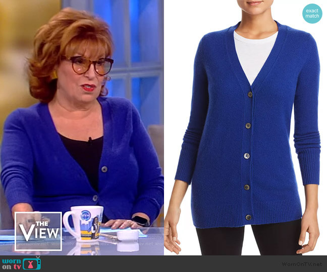 Cashmere Grandfather Cardigan by C by Bloomingdales worn by Joy Behar  on The View