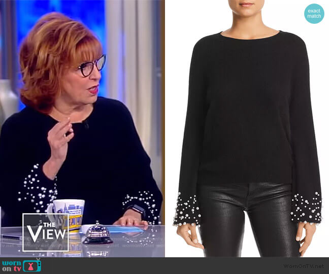 Embellished-Cuff Cashmere Sweater by C by Bloomingdales worn by Joy Behar  on The View