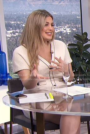 Carissa's white button front mini dress on E! News Daily Pop