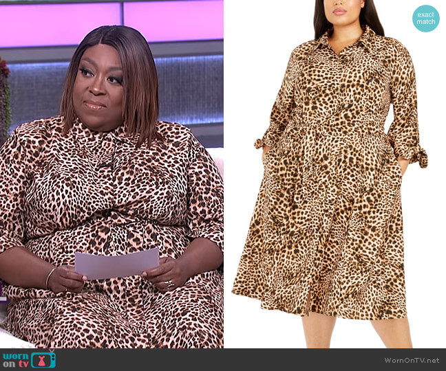 Plus Size Animal-Print Shirtdress by Calvin Klein worn by Loni Love  on The Real