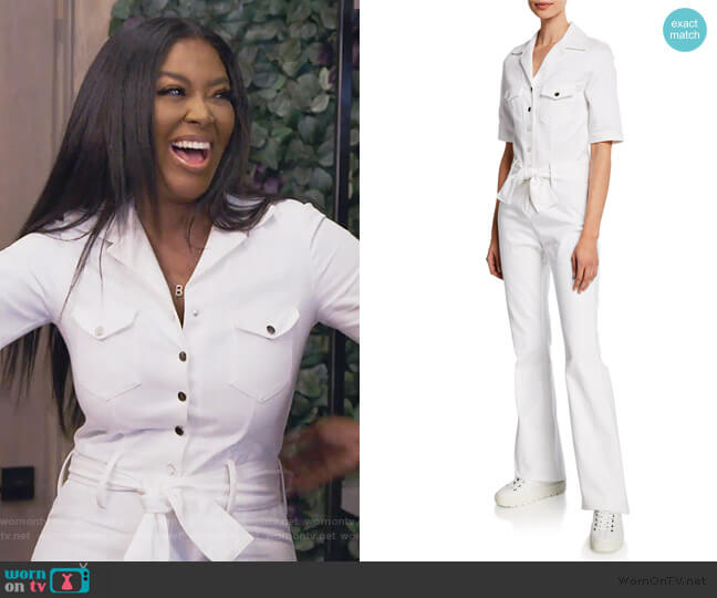 Sophia Short-Sleeve Snap-Front Jumpsuit by Carolina Ritzler worn by Kenya Moore  on The Real Housewives of Atlanta